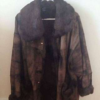 Brown Leather/Fur Coat From Yugoslavia