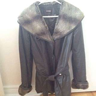 Medium Danier Brown Leather/Fur Coat