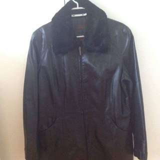 Large Danier Black Leather Coat