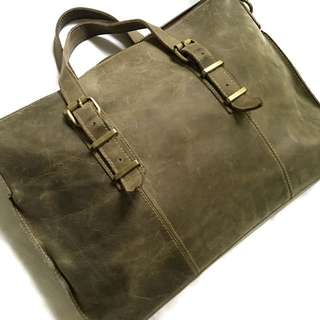 Leather Document Bag with strap in Olive Green