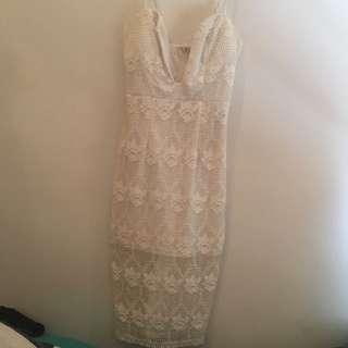 Lace Midi Dress White
