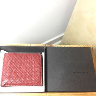 Authentic Bottega Veneta Red Leather Bifold Wallet