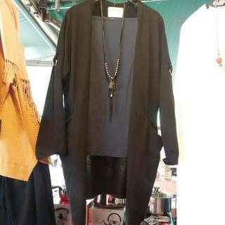 黑色薄款修身罩衫外套