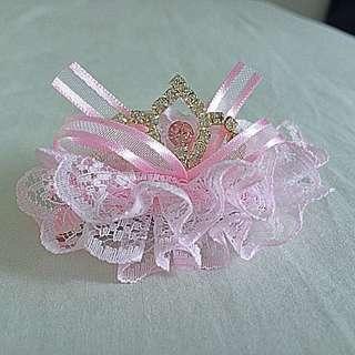 Crystal Diamond Princess Queen Crown  Hair Clip Party Dinner Dress Pink Ribbon