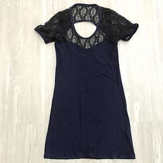 Navy Blue Lacy Body Fitting Dress