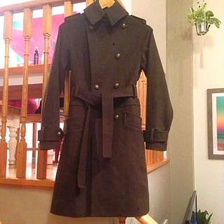 Club Monaco Wool Cashmere Brown Belted Peacoat Double Breasted