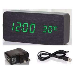 Digital Alarm Clock | Wood laminated | Black | Green display