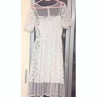 Miss Selfridge - White Dobby Lace Midi Dress