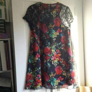 Floral Print Lace Sleeve Dress