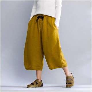 Y2™九分寬褲哈倫褲可搭長袖剪裁長袖上衣長版tshirt寬鬆大版大尺碼顯瘦修身個性設計款大碼孕婦裝減肥瘦身