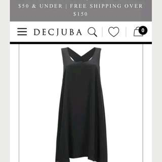 Decjuba Pure Silk LBD Black Dress Midi Size 8
