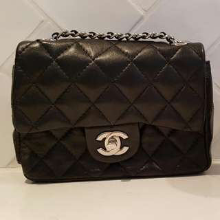 Chanel Quilted Signature Bag With Silver Chain