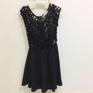 Crochet Black Lace Top Dress