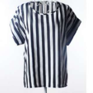 Cheap Striped Chiffon Blouse T-Shirt