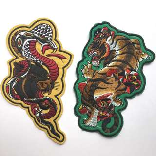 Tattoo Style Panther And Tiger Iron On Patches