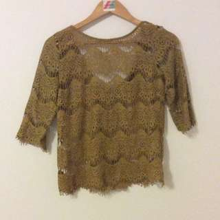 Gorgeous Green Lacy Top. Size S