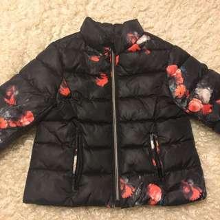 Zara Girls Floral Winter Jacket 3-4 Years 104cm