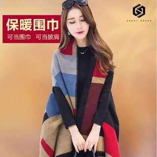 【免運】 披肩 圍巾 披風 兩用 冬天 秋冬 仿羊絨 斗篷 外套 空調毯 披風 #376