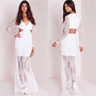 White Lace Maxi Dress Size 10