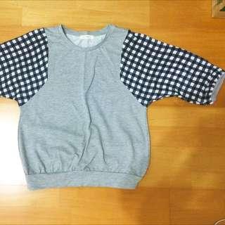 日系格子7分袖上衣