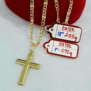 Mens Necklace w/pendant  18k Saudi Gold Special