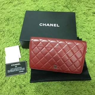 PRICE REDUCTION!! Chanel Lambskin Quilted Large Zip Wallet