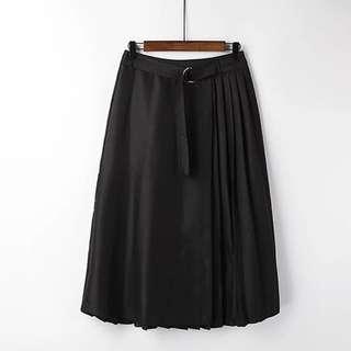 百褶裙 2016出口女裝 出口韓國純黑色收腰百搭大擺裙