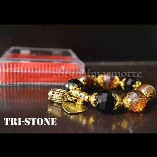 Tri-Stone Charm Bracelet