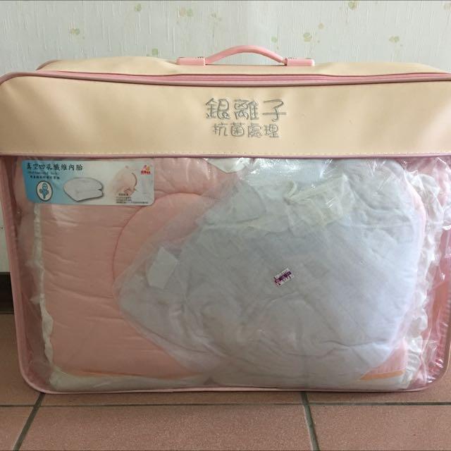 銀離子抗菌7件組嬰兒床包~粉色(送蚊帳)