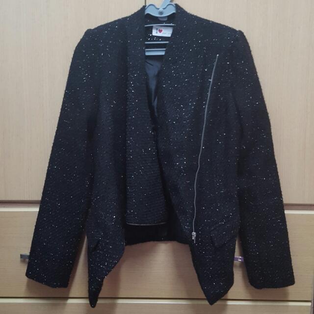 韓國製造黑色毛尼亮蔥不規則拉鍊外套