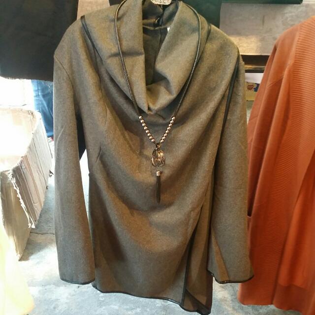 灰色不規則多造型變化外套