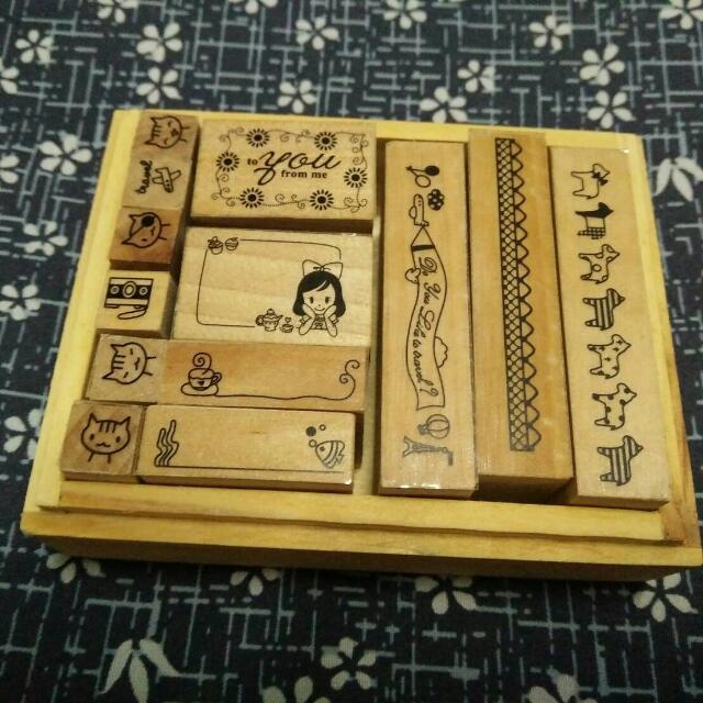 可愛木盒印泥印章