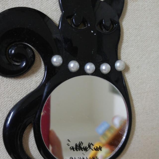 黑貓咪珍珠鏡子