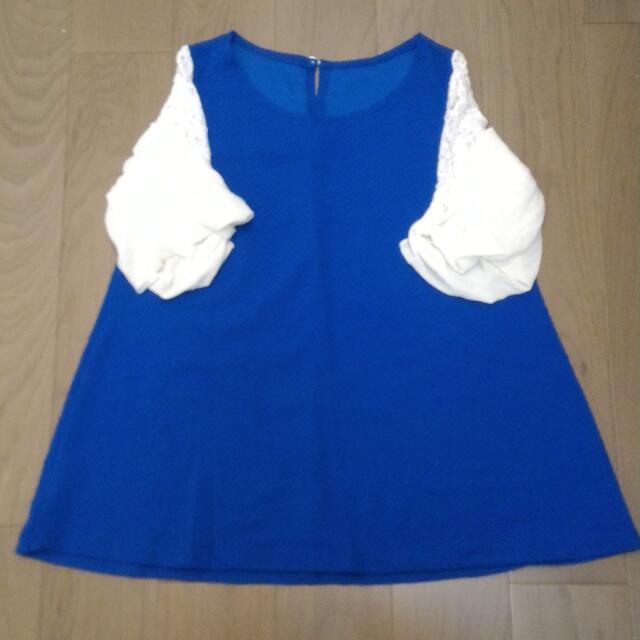 藍色公主袖上衣