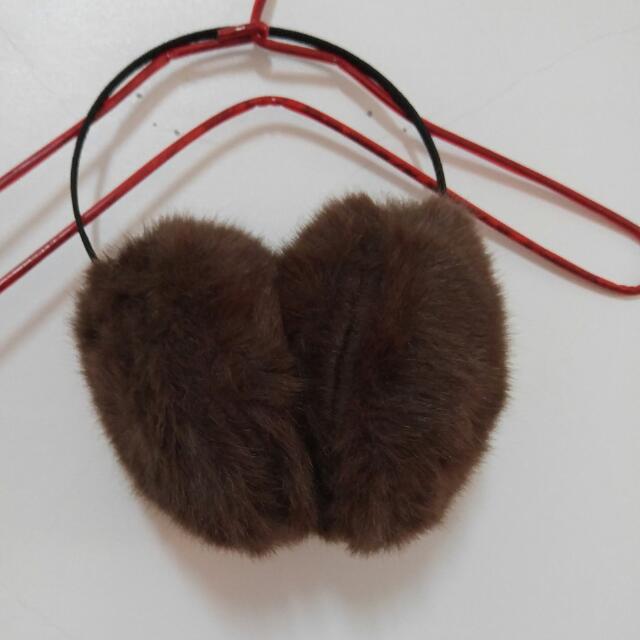 全新 咖色保暖毛毛耳罩