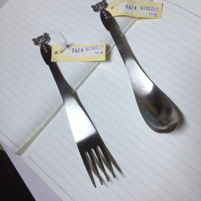 不鏽鋼 日本帶回 熊叉子與湯匙