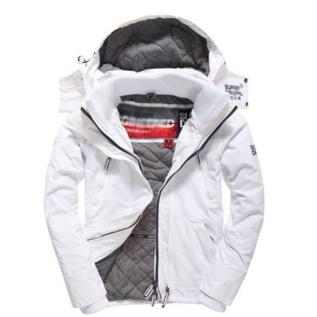全新正品 極度乾燥superdry 純淨白格菱紋 舖棉 刺繡Logo 保暖防風 三層拉鏈
