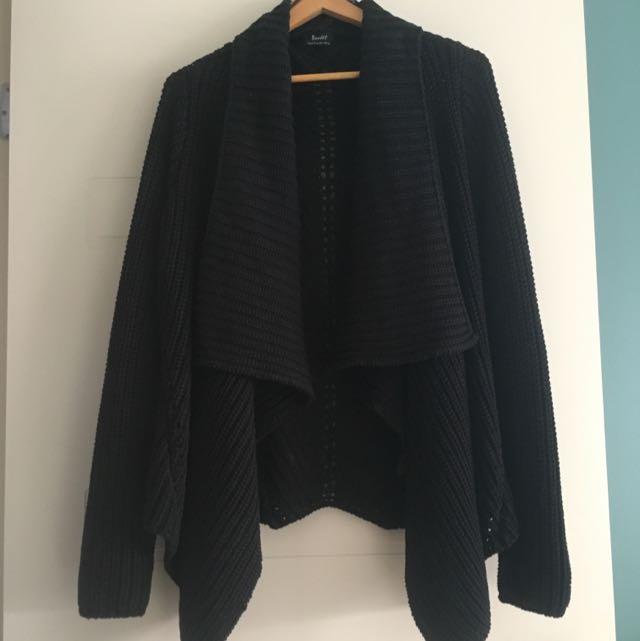 Bardot Black Drape Front Cardigan (size 14)