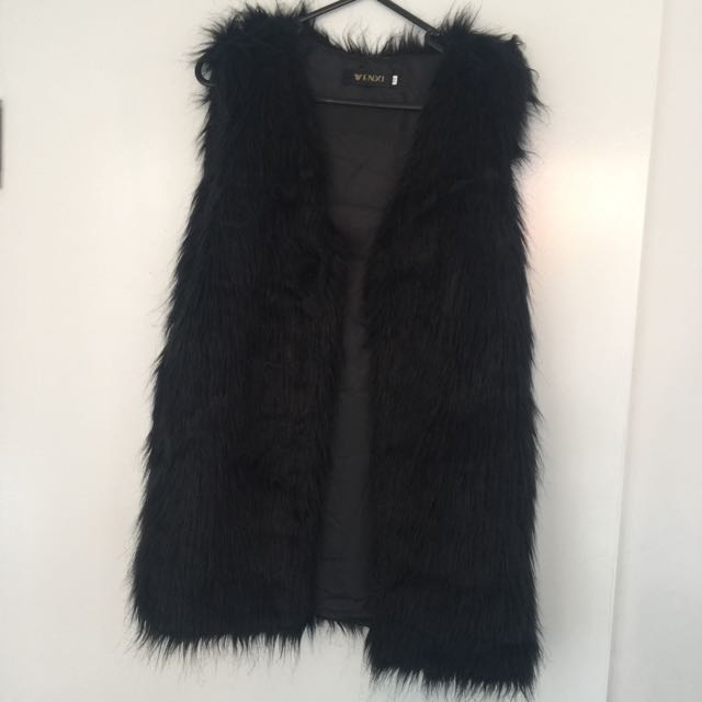 black Fur Gillet