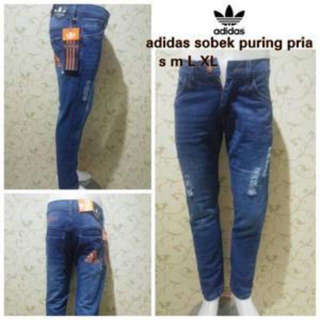 Celana Adidas Ripped Jeans Pensil Skinny Sobek Biru Wash, Olshop Fashion, Olshop Pria on Carousell