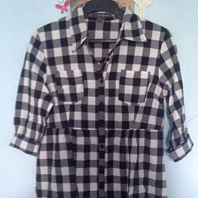 Checkered Forever21  Polo Dress Top