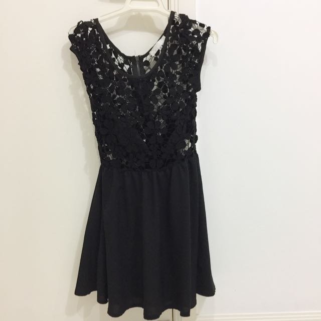 Crochet Black Lace Top Dress