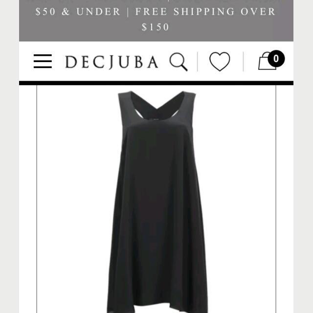 Decjuba Pure Silk LBD Black Dress Midi Size 8