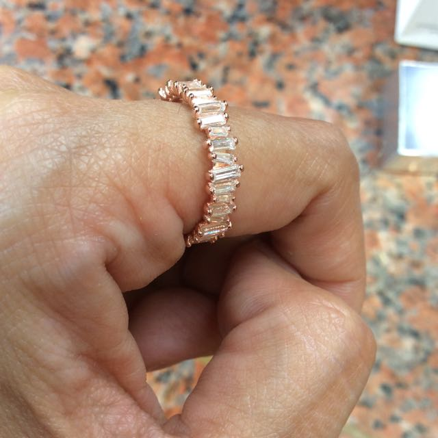 Eternity Ring Rose Gold Plated 925 Silver