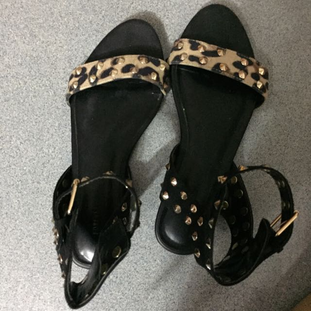 28fa7c600a51 Forever21 Leopard print with metal studs ankle strap flats, Women's ...