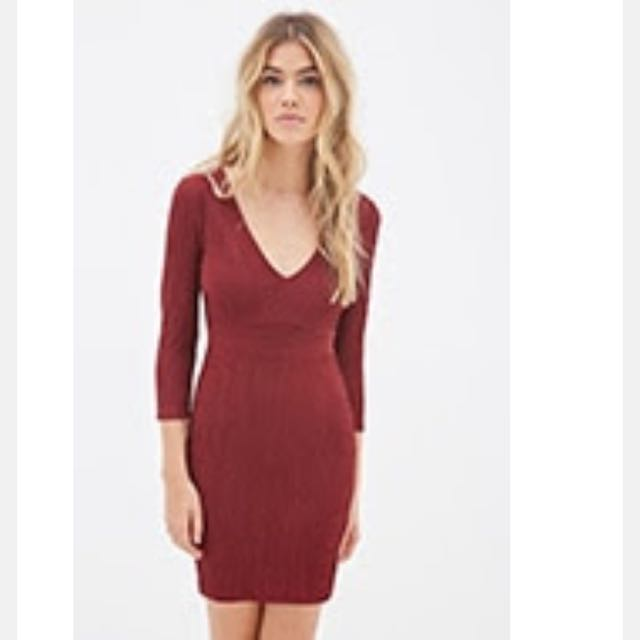 Forever 21 Metallic Thread Knit Dress