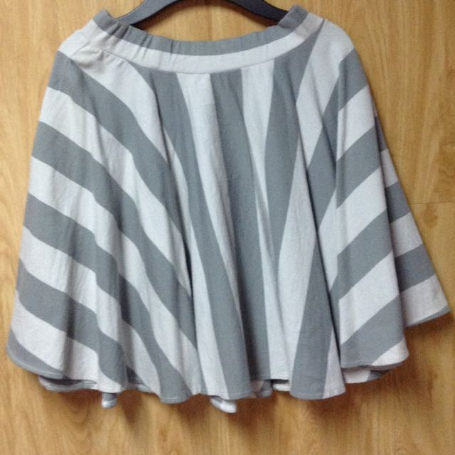 Gray And White Striped Skater Skirt
