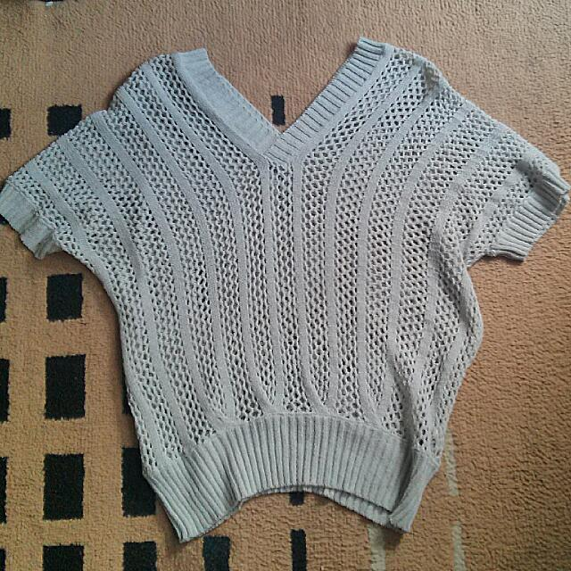 Gray Knitted Cover-up Top