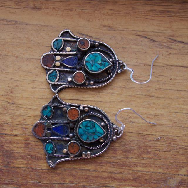 Handmade Nepalese Earrings (Turquoise & Carnelian)