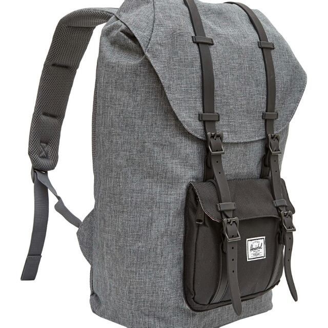 f6bdd671cc30 Herschel Little America Backpack Charcoal Crosshatch Black Rubber ...